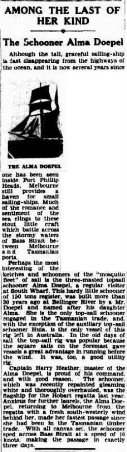 alma doepel The Argus (Melbourne, Vic. 1848-1954), Tuesday 15 January 1935,