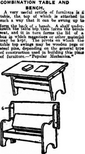 BENCH AND TABLE The Queenslander (Brisbane, Qld. 1866-1939), Saturday 23 December 1922