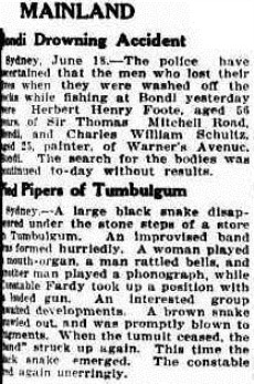 snake tumb The Mercury (Hobart, Tas. 1860-1954), Tuesday 19 June 1934