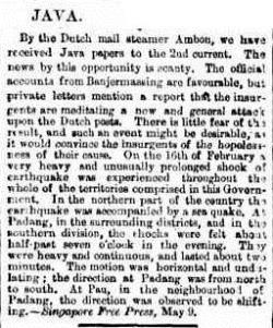 TIDAL JAVA The Argus (Melbourne, Vic. 1848-1954), Monday 10 June 1861,