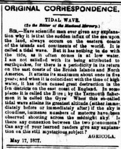 TIDAL The Maitland Mercury & Hunter River General Advertiser (NSW 1843-1893), Tuesday 22 May 1877