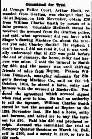 horse fraud Clarence and Richmond Examiner (Grafton, NSW  1889 - 1915), Saturday 13 February 1915,