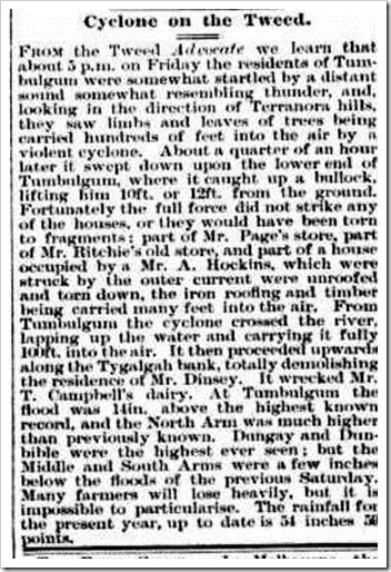 tumbulgum cyclone Clarence and Richmond Examiner (Grafton, NSW  1889-1915), Saturday 4 March 1893,