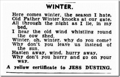 winter poem Western Mail (Perth, WA 1885 - 1954), Thursday 12 February 1942