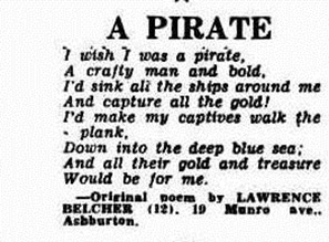 pirate poem The Argus (Melbourne, Vic. 1848 - 1956), Friday 15 August 1952,