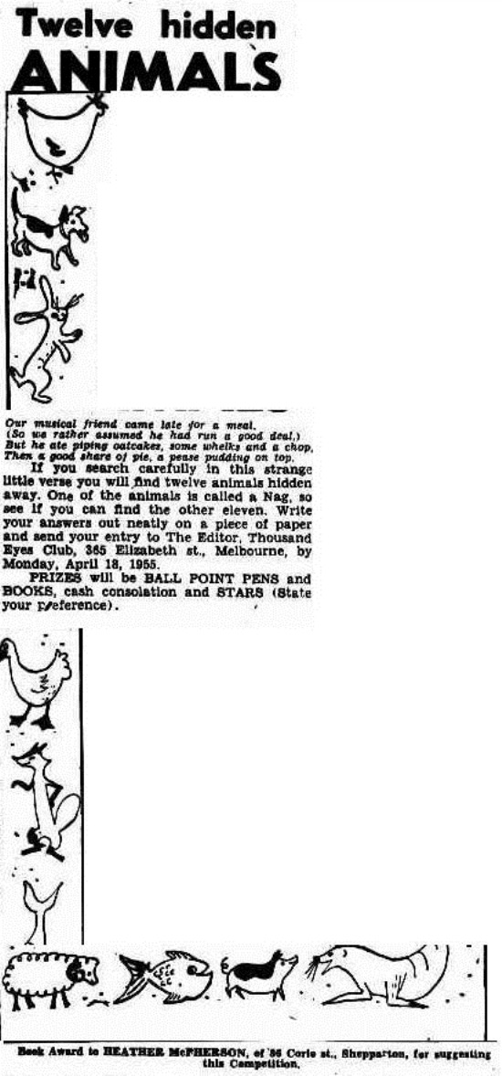 hidden animals The Argus (Melbourne, Vic. 1848 - 1956), Saturday 9 April 1955