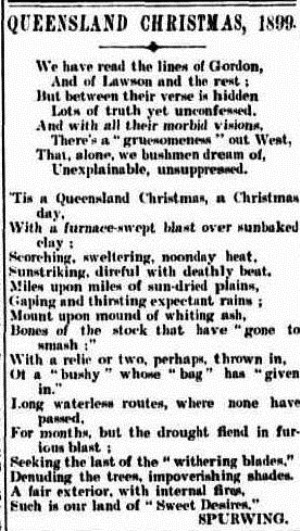 verse  hidden Morning Bulletin (Rockhampton, Qld. 1878 - 1954), Wednesday 27 December 1899