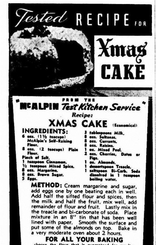 xmas cake The Argus (Melbourne, Vic.  1848 - 1956), Wednesday 26 November 1947,