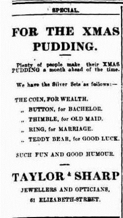 XMAS PUD The Mercury (Hobart, Tas.  1860 - 1954), Thursday 25 November 1909,