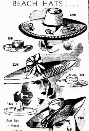 BEACH HATS The Mercury (Hobart, Tas. 1860 - 1954), Wednesday 18 December 1946,